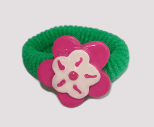 #SF0400 - Scrunchie Fun - Green Band, Pink/White Flower
