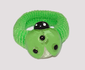 #SF0430 - Scrunchie Fun - Green Band, Green Ladybug - Click Image to Close