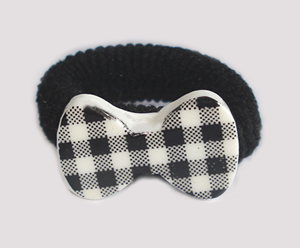 #SF0490 - Scrunchie Fun - Chic Black & White, Plaid Bow