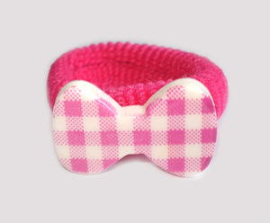 #SF0540 - Scrunchie Fun - Flirty Hot Pink & White, Plaid Bow