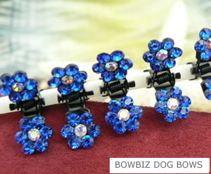 #SW450 Dog Mini Clip - Sparkly Claw Clip Mazarine Blue Flower