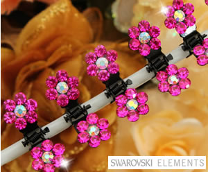 #SW550 - Dog Mini Clip - Sparkly Claw Clip Hot Pink Flower