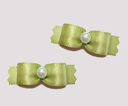 "#T8788 - 3/8"" Dog Bow - Satin, Lovely Sage with Faux Pearl"