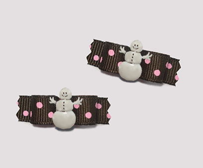 "#T8795 3/8"" Dog Bow- Chocolate with Strawberry Sprinkle, Snowman"