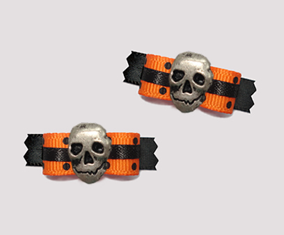 "#T8808 - 3/8"" Dog Bow - Haunted Halloween, Dots, Skull"