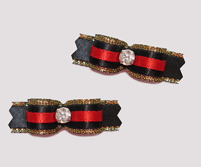 "#T8811 - 3/8"" Dog Bow - Gorgeous Red, Black & Gold Sparkle"