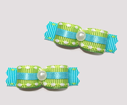 "#T8813 - 3/8"" Dog Bow- Summer Brights, Lime Green on Bright Blue"