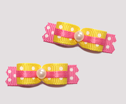 "#T8814 - 3/8"" Dog Bow - Adorable Daffodil Yellow & Pink, Dots"