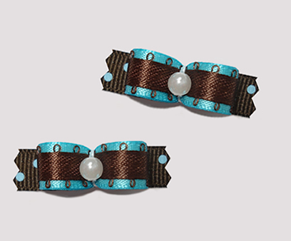"#T8822 - 3/8"" Dog Bow - Electric Blue with Chocolate Brown"