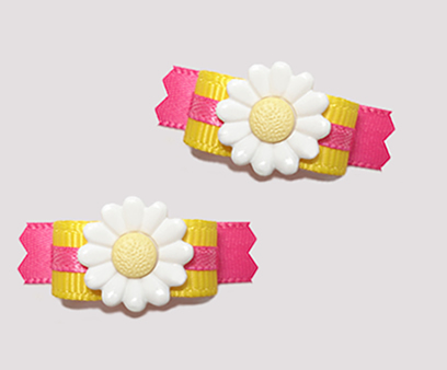 "#T8827 - 3/8"" Dog Bow - Summertime Brights, Delightful Daisy"
