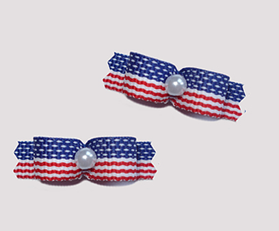 "#T8832 - 3/8"" Dog Bow - Patriotic Stars & Stripes, Faux Pearl"