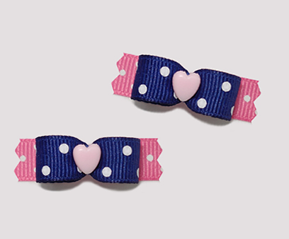 "#T8837 - 3/8"" Dog Bow - Cutie Pie, Love You! Navy/Pink/Heart"