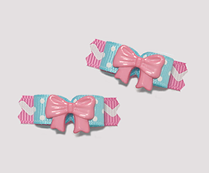 "#T8838 - 3/8"" Dog Bow - Sweetness Galore, Pink Ribbon"