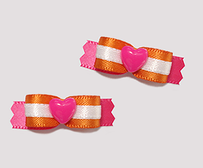 "#T8842 - 3/8"" Dog Bow - Sweet Heart, Orange/White/Pink Heart"