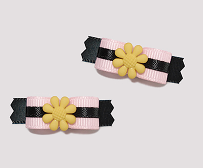 "#T8843 - 3/8"" Dog Bow - Bloomin' Cute, Pink/Black, Yellow Flower"