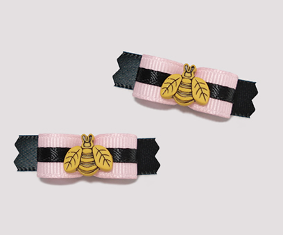 "#T8844 - 3/8"" Dog Bow - ""Buzz Off"" Cutie Pie, Pink/Black"