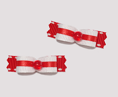 "#T8847 - 3/8"" Dog Bow - Classic White with Red"