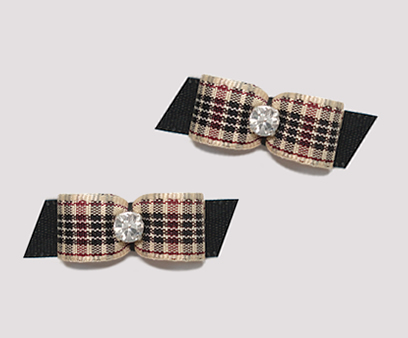 "#T8849 - 3/8"" Dog Bow - Designer Plaid on Black, Rhinestone"