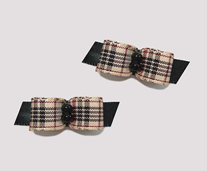 "#T8851 - 3/8"" Dog Bow - Designer Plaid on Black, Black Beads"