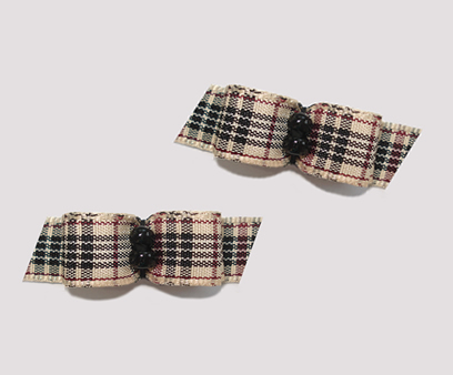 "#T8852 - 3/8"" Dog Bow - Designer Plaid, Black Beads"