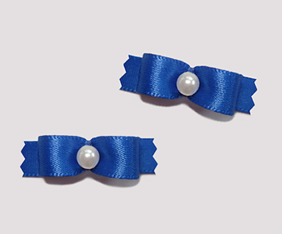 "#T8865 - 3/8"" Dog Bow - Satin, Classic Blue with Faux Pearl"