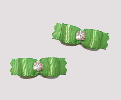 "#T8873 - 3/8"" Dog Bow - Satin, Summer Green with Rhinestone"