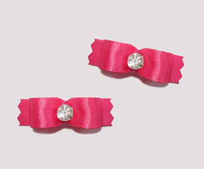 "#T8878 - 3/8"" Dog Bow - Satin, Hot Pink with Rhinestone"