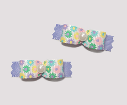 "#T8879 - 3/8"" Dog Bow - Sweet Spring Flowers with Lavender"