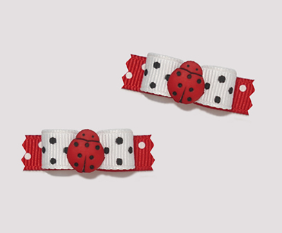 "#T8884 - 3/8"" Dog Bow - Classic Tiny Adorable Ladybug"