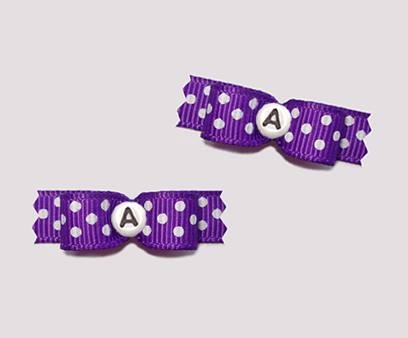 "#T8888 - 3/8"" Dog Bow - Vibrant Violet, White Dots Custom Letter"