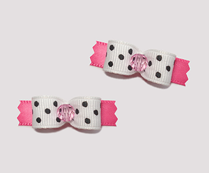"#T8890 - 3/8"" Dog Bow - Chic & Cute Dots, B/W on Hot Pink"