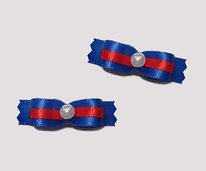 "#T8893 - 3/8"" Dog Bow - Sailor Blue with Red Trim, Faux Pearl"
