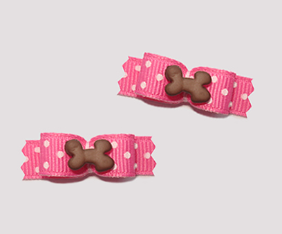 "#T8896 - 3/8"" Dog Bow - Sweet Treat Bow, Itty Bitty Bone, Pink"
