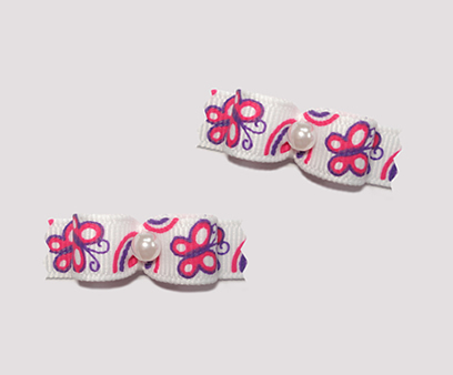 "#T8899 - 3/8"" Dog Bow - Butterfly Fun, White with Pink"