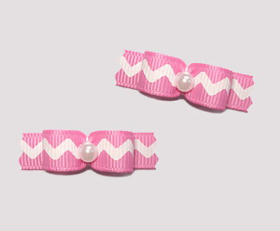"#T8902 - 3/8"" Dog Bow - Cute Little Zig Zag Fun, Pink"