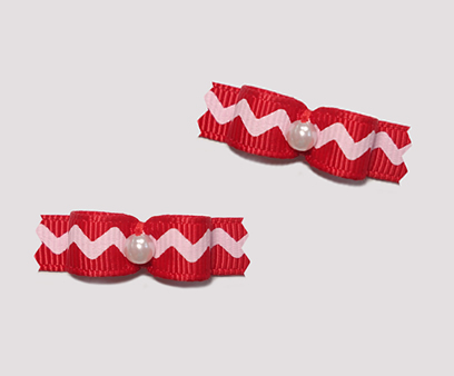 "#T8903 - 3/8"" Dog Bow - Cute Little Zig Zag Fun, Red"
