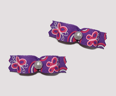"#T8907 - 3/8"" Dog Bow - Butterfly Fun, Purple with Pink"