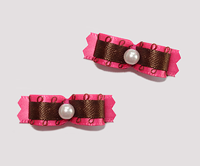 "#T8909 - 3/8"" Dog Bow - Chocolate & Berry, Brown/Hot Pink"