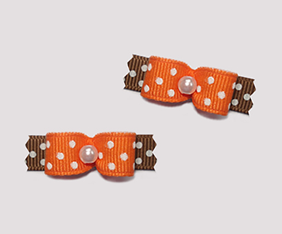 "#T8912 - 3/8"" Dog Bow - Sweet Orange & Brown, Tiny White Dots"