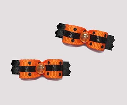 "#T8913 - 3/8"" Dog Bow - Delightful & Vibrant Orange & Black"