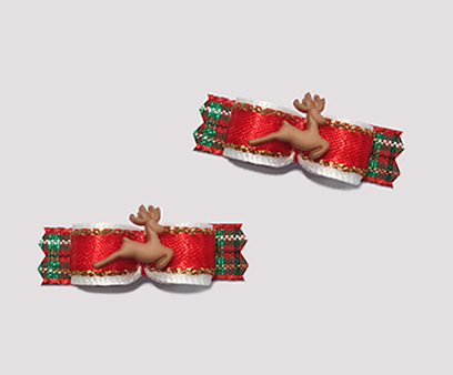 "#T8915 - 3/8"" Dog Bow - Tiny Prancing Reindeer, Red/Gold/Green"