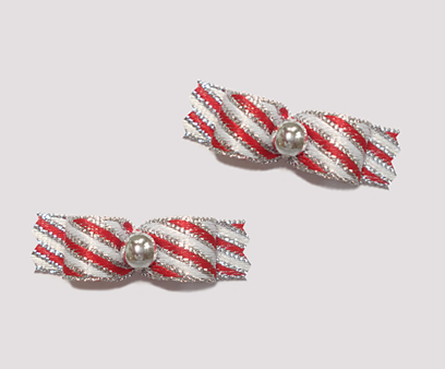 "#T8918 - 3/8"" Dog Bow - Sweet Candy Cane Stripes, Silver"