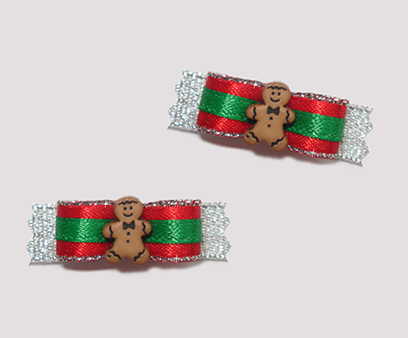 "#T8924 - 3/8"" Dog Bow - Festive Sparkle, Sweet Gingerbread Man"