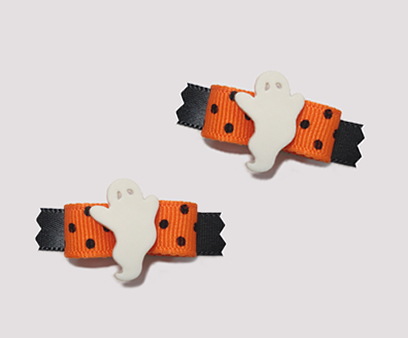 "#T8930 - 3/8"" Dog Bow - Friendly Ghost, Vibrant Orange w/Black"