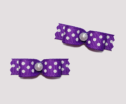 "#T8936 - 3/8"" Dog Bow - Vibrant Violet with Tiny White Dots"
