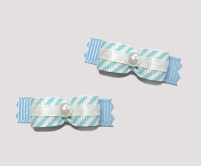 "#T8943 - 3/8"" Dog Bow - Cute Blue & White Stripe, Faux Pearl"