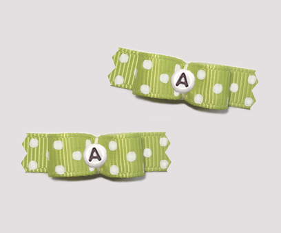 "#T8946 - 3/8"" Dog Bow - Soft Green, White Dots, Custom Letter"