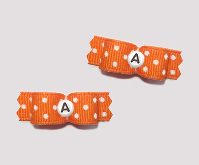 "#T8947 - 3/8"" Dog Bow- Vibrant Orange, White Dots, Custom Letter"