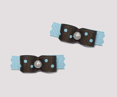 "#T8954 - 3/8"" Dog Bow - Chocolate Brown/Blue with Blueberry Dots"