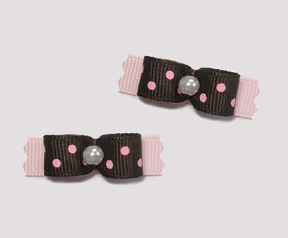 "#T8956 - 3/8"" Dog Bow - Chocolate Brown/Pink with Raspberry Dots"